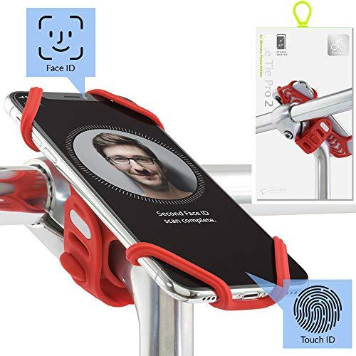 BONE COLLECTION Face ID kompatibel, Handyhalterung Fahrrad für den Vorbau Befestigung 4-6,5 Zoll Smartphones, Ultra leichtes Gewicht, für Straßen-, Renn- sowie Tourenrad - Bike Tie Pro 2, Rot