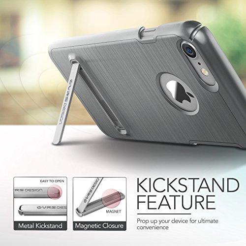 iPhone 7 Hülle, VRS Design [Simpli Lite Serie] Minimalistisch Schlanke und Schwerlast Schutz mit Klappständer für Apple iPhone 7 2016 - Satin Silber Stahl Silber