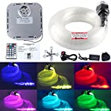 JennyHedy 32W Fiber Optic Starry Sky Light Kit de techo, Twinkle RGB Multi Color Sensorory fuente de luz con 5m (13.1ft) 400pcs (0.75mm + 1.0mm + 1.5mm + 2.0mm) Fibras ópticas + 28key Remote Control + Crystal