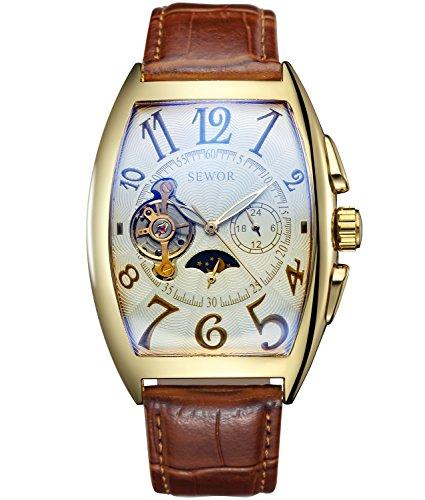 Sewor Luxury Tourbillon Mens Moon Phase Automatic Mechanical Wrist Watch Leather Band Glass Coating Blue (Platinum)
