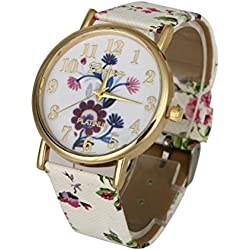 WINWINTOM Flower Pattern Leather Band Vogue Wrist Watch Purple