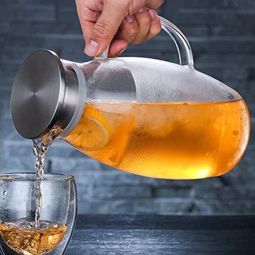1800ML Teekanne Glas Teebereiter Karaffe mit Abnehmbare Edelstahl Abdeckung Explosionsgeschützt und Hitzebeständig Saftflaschen für Hotel Restaurant mit Griff für heißes/Kaltes - Hitzebeständiges Glas Teekanne