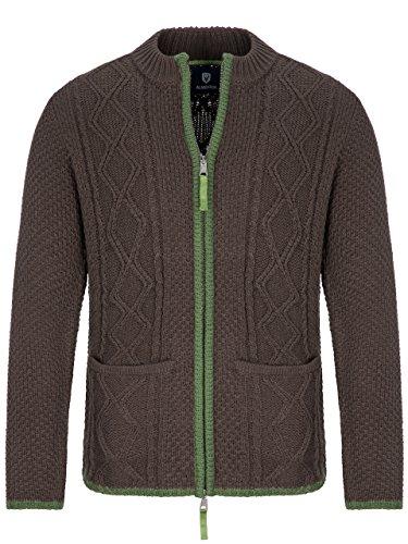 Almbock Strickjacke Tracht Braun | Strickjacke XL mit Reißverschluss | Herren Trachten Jacke in Braun Größe XL