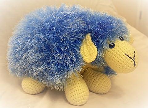 Peluche moutons bleus mous jouets coussin oreiller animaux mignons cadeau fait à la main parfait pour les enfants