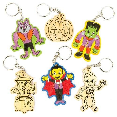 Schlüsselanhänger Halloween aus Holz zum Ausmalen für Kinder als Bastel- und Deko-Idee zum Gestalten zu Halloween für Jungen und Mädchen (6 Stück)