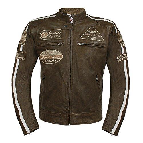 *Leder24h Herren Motorrad Lederjacke mit Protektoren 2075 (4XL)*