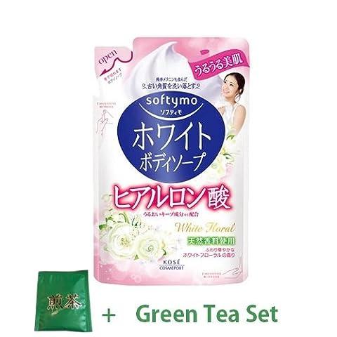 Kose Softymo White Body Soap - Hyaluronic Acid - 420ml - Refill (Green Tea Set)