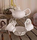 Teeservice/Service/Tischset/Teeset/Kaffeeservice in weiß und einzigartigem Landhausstil und Vintage-Optik - Palazzo Exclusive