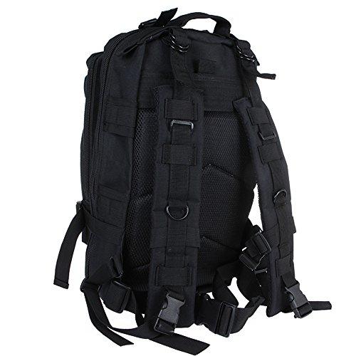 Zaino militare impermeabile doolland outdoor tattico borsa a tracolla espandibile zaino per campeggio trekking viaggio caccia nero nero  42x25x22cm