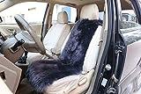 WOLTU AS7338an universal Lammfellbezug Auto Sitzbezug 100% Echtlammfell Vollbezug Vordersitzbezug, feste Wolle, ca. 6 cm dicke, 115x33cm, anthrazit