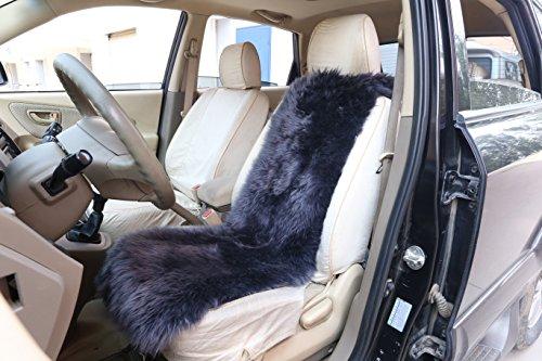 WOLTU AS7338an Lammfellbezug Auto Sitzbezug Sitzauflage Vordersitzbezug, Feste Wolle, ca. 6 cm Dicke, 115x33cm, anthrazit -