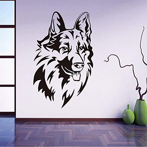Zxfcczxf Schäferhund Kopf Tiere Wandaufkleber Abnehmbare Vinyl Wandkunst Aufkleber Selbstklebende Tapete Für Schlafzimmer Wohnkultur