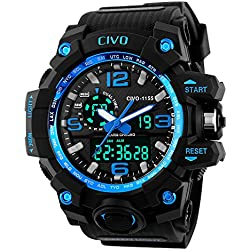 CIVO Men's Boy's Analogue Digital 50M Waterproof Military Sport Watch Mens Big Face Dual Dial Business Casual Multifunction LCD Back Light Electronic Wrist Watches Shock Resistant Wristwatch (Blue)