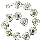 Ornami Silver Ladies' Filigree Heart Multi Coloured Cubic Zirconia Set 20cm Bracelet