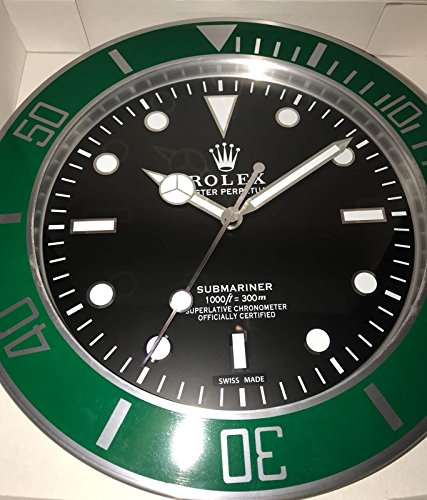 REPLICA Rolex 35 CM da Muro Submariner GHIERA Verde Metallo Movimento Silenzioso + 2 CD Audio in Omaggio