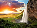 VLIES Fototapete-WASSERFALL ISLAND-350x260cm-7 Bahnen-(364T)-Inkl. Kleister-EASYINSTALL-PREMIUM-Tapete XXL Foto-Mural Bild Poster Einhörner Pferde Fabel Tiere Kinder Natur Landschaft