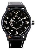 Jean Constantine–Avión Reloj, Swiss Ronda de reloj, pilotos Reloj, Indicador de Fecha, cristal mineral, piel auténtica, Reloj de pulsera, 5ATM, color: negro de color ocre, 42mm