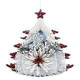 TOOGOO(R) bianca Porta di Natale Ornamenti della finestra Natale Decorazione Natale Albero appendere decor - cinque - stella a punta sul albero