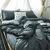 SQINAA Pompons bettbezug,Quaste gewaschen Baumwolle bettbezug Niedliche bettwäsche einfarbig Volle grösse -D 150x200cm(59x79inch)