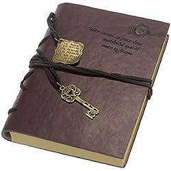 Malloom® nuevo vendimia magia clave cadena Retro cuero cuaderno agenda diario Marron Oscuro