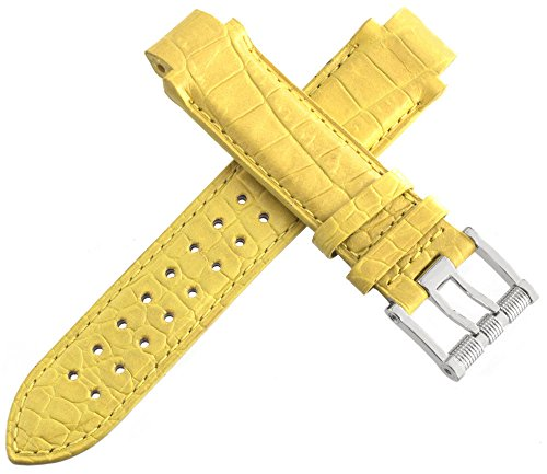 aquanautic Herren Gelb Alligator Lederband mit Schnalle aus 15mm