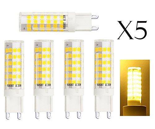 Porzellan-lampe Akzent (5pcs G9 6W LED-Lampen, 3000K Warm weiße LED-Lampen, CRI > 80, 75LEDs 2835SMD, 55W Halogen Lampen Äquivalent, 600LM, AC 220 ~ 240V, Abstrahlwinkel 360°, LED Energiesparlampen)