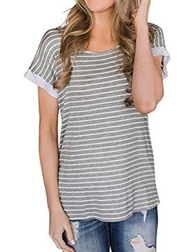 Camisetas De Rayas Estampado Manga Corto Mujer LHWY, Camisetas Espalda Descubierta Tops Suelto De Cuello Redondo...
