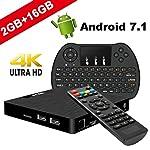 TV Box Android 7.1 - VIDEN W2 Smart TV Box [2018 Ultima Generazione] Amlogic S905W Quad-Core, 2GB RAM & 16GB ROM, Video 4K UHD H.265, 2 Porte USB, HDMI, WiFi Web TV Box, + Mini Tastiera Vieni con 3 in 1 Telecomando Mini Tastiera  Dotato di 3-Gyr...