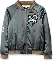 RED WAGON Girl's Cool Bomber Jacket, Green (Multi), 7 Years