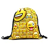 Emojis Drawstring Bags Backpack with Polyester Material Sport String Sling Bag for Kids Teens - Big Smiles Faces