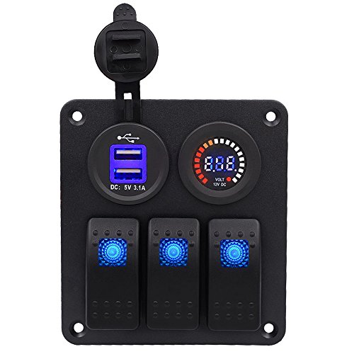 Digitale Farben Voltmeter 3.1A Dual USB Power Ladegerät Wasserdicht Einbau 3 Gang Wippschalter Schalttafel Kit für RV Auto Yacht, Blaue LED, T Tocas