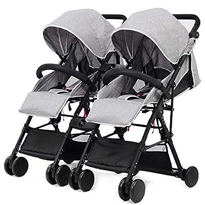 HAO XIAN SHENG El Cochecito de bebé Gemelo Nuevo Puede Sentarse reclinado Desmontable El Cochecito de bebé Gemelo Puede Entrar en el Elevador Choque Viaje portátil Conveniente,A