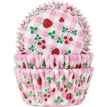 Muffinförmchen, mit Aufdruck Erdbeere und Karomotiv, 50 Stk