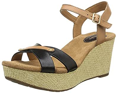 Clarks Women's Caslynn Regina Black Leathe Fashion Sandals-7 UK/India (41 EU)(91261088674070)