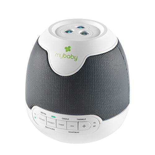 MyBaby SoundSpa beruhigende Klänge & Bildprojektion, Einschlafhilfe für Babys und Kinder mit Schlafliedern & natürlichen Klängen wie Herztöne, Regen, Bildprojektor Nachtlicht zum Einschlafen, Timer