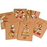 Petalum 6 Pcs Weihnachtskarten Post Up 3D Grußkarten Einladungskarten Weihnachtsdeko Weihnachten Postkarten Vintage Weihnachtspostkarten Set (12Pcs Set)