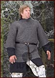 Larp Ulfberth Haubergeon–Cota de malla remachado doble y estampado, ID 6mm Medieval Vikingo Tallas M–XXL, gris, xx-large