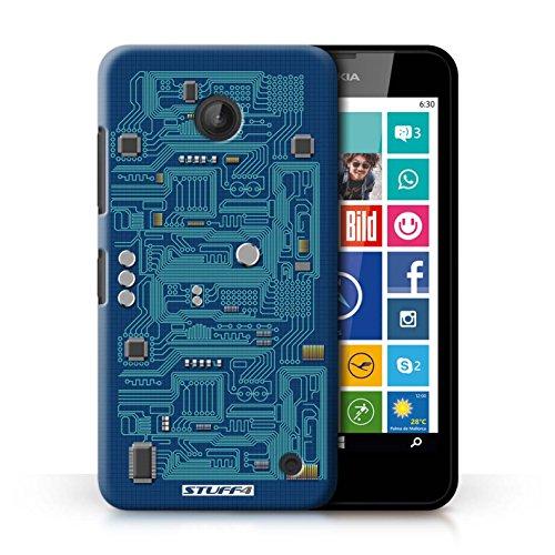 Kobalt® Imprimé Etui / Coque pour Nokia Lumia 635 / Rouge conception / Série Circuit Board Bleu