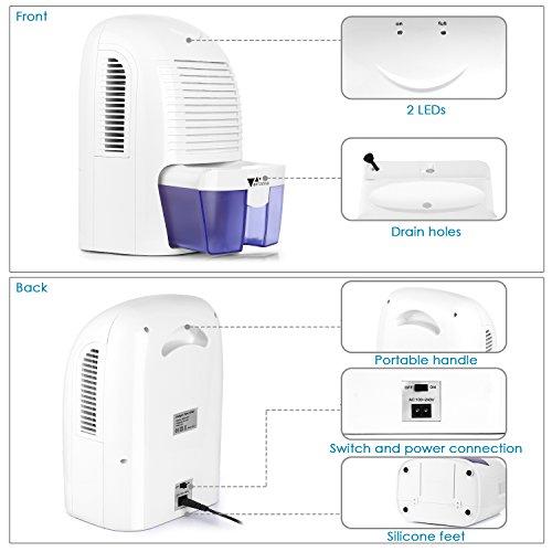 Amzdeal Luftentfeuchter 700ml/24h | Raumentfeuchter gegen Feuchtigkeit - 6