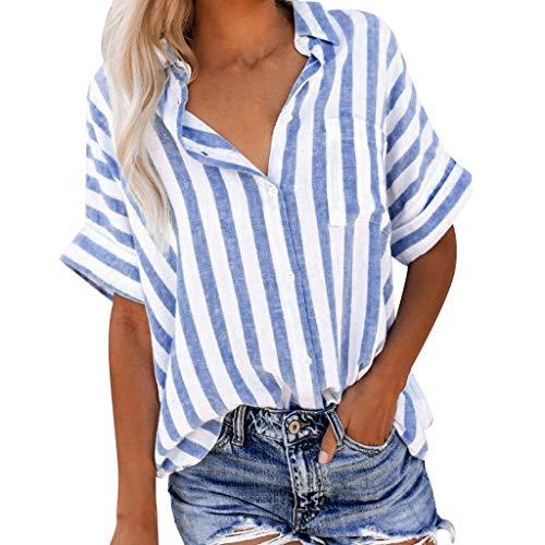 DQANIU ❤️Frauen Tops❤️ Art- und Weisefrauen schließen Hülsen-gestreiftes Knopf-T-Stück beiläufige populäre Blusen-Oberseiten/Frauen schließen Hülsen-Taschen-Knopf-T-Stück -