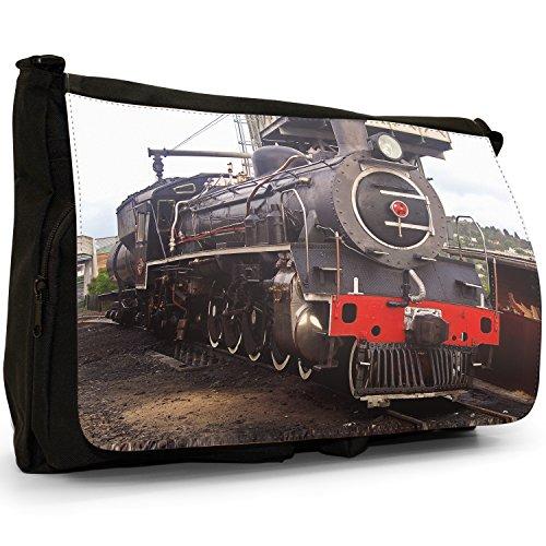 Fancy A Bag Borsa Messenger nero Train Speeding Away Black & Red Steam Locomotive