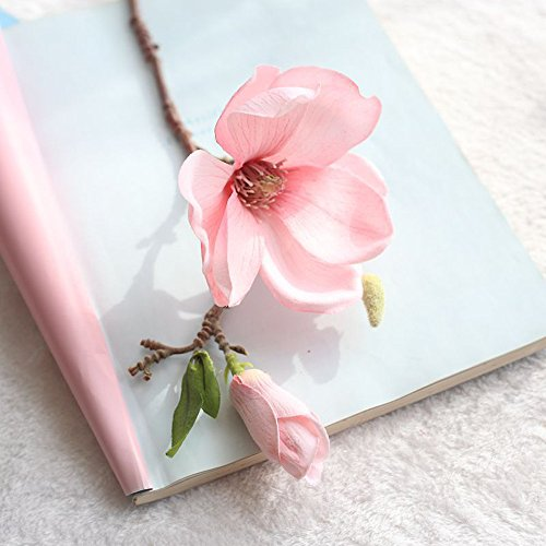 VWTTV einzigen Zweig Magnolie künstliche Blume Kunstblume Kunstblume Blatt Magnolie Blume Hochzeitsstrauß Partei Hauptdekoration -