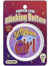 Beistle BL010 Birthday Girl Blinking Button, 2-Inch