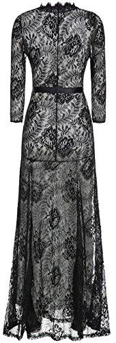 U-Shot Robe longue pour femme Col en V Dentelle à motif fleuri Vintage Élégante Noir