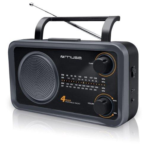 Muse M-05DS Küchenradio (FM, MW, LW, KW) Radio, Netz- und Batteriebetrieb, Teleskopantenne, AUX-In, schwarz