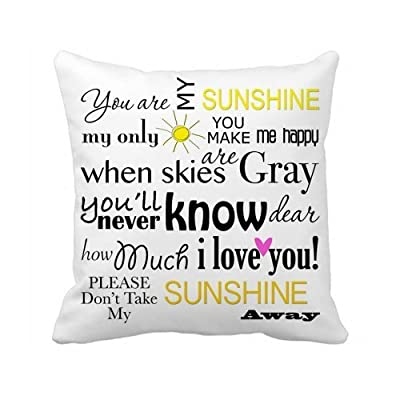 Hidoon® Custom 18x18 Inch Soft White Canvas Decorative Throw Pillow Cover Cushion Case (You Are My Sunshine) - inexpensive UK light shop.