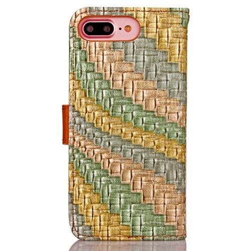 """Trumpshop Smartphone Case Coque Housse Etui de Protection pour Apple iPhone 7 4.7"""" (Abstrait Lignes) + Rouge Or Gris + Ultra Mince Smarphonetcoque Portefeuille PU Cuir Avec Fonction Support Anti-Choc  Gris Or Vert"""