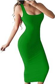 BEAGIMEG فستان كاجوال طويل بدون أكمام بتصميم بسيط بدون أكمام بتصميم ضيق