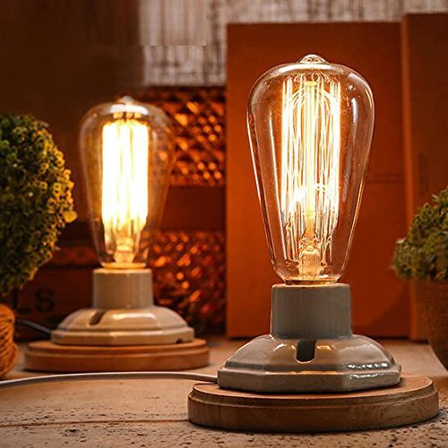 Lampe Sockets Antike (FSLiving beleuchtung der jahrgang edison mit keramik - basis socket E27 schreibtisch licht der lampe home decor (die Glühbirne ist nicht enthalten))