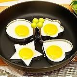 BEAUTOP Fried Egg Mold Shaper Anello Pancake Maker Antiaderente in Acciaio Inox con Manico per Padella per Cucinare Argento Silver Circle